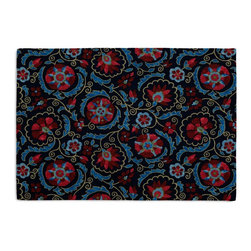Navy & Red Suzani Custom Placemat Set - Is your table looking sad and lonely? Give it a boost with at set of Simple Placemats. Customizable in hundreds of fabrics, you're sure to find the perfect set for daily dining or that fancy shindig. We love it in this eclectic swirling suzani in berry red & aqua on navy blue linen.
