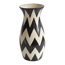 "Large Zigzag Vase, Black/White, 6"" X 13.5"" - Hand-painted Mexican ceramics are known for their laid-back, traditional charm, but this piece could hardly be more edgy with its striking black and white zigzag pattern. It's got the swagger to carry itself in the most fashionable of modern rooms, but would be equally comfortable in a rustic setting among colorful ethnic pieces."