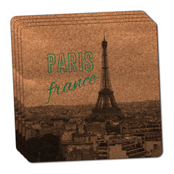 """Made on Terra - Paris France Eiffel Tower Thin Cork Coaster Set of 4 - You're just cleaning up after your epic party when you realize it... something's different. Unlike all those other times, you're not mopping up cup condensation from your counters and tables. This time, everyone used a coaster. Everyone. Maybe it's because you handed out a coaster with every glass. No. You've tried that before. No, this time it's because of the actual coasters. You found the cutest Made On Terra printed cork coasters. You love that everyone commented on how unique they were,  from the light-weight, thin cork material to the printing that creates a cool and subtle effect. Plus, they're really absorbent, but dry quickly. And they're made from an eco-friendly, sustainable resource, so that makes you feel pretty great, too. Choose from Made on Terra's many fabulous cork coasters. Measures 4"""" x 4"""" x 1/8"""". Made of thin cork. Super cute and nicely absorbent. Sold in sets of four."""