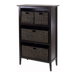 Winsome Wood - 48 in. Storage Shelf Unit - Includes two small and two large foldable baskets. Made from solid, composite wood. Espresso, chocolate finish. Assembly required. Small baskets: 11.02 in. W x 10.24 in. D x 9.06 in. H. Large Baskets: 22.83 in. W x 10.24 in. D x 9.06 in. H. Overall: 30 in. W x 13.8 in. D x 48 in. H