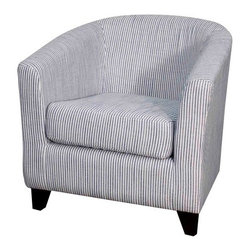 NPD (New Pacific Direct) Furniture - Hayden Tub Armchair by NPD Furniture, Blue Stripes - The distinguished look of the Hayden tub armchair makes it a welcomed addition in homes of any style. This fabric armchair is a truly relaxing experience. The Hayden tub armchair features bonded leather or fabric upholstery with deep padded foam for comfort and available in your choice finish. Sleek and comfort, this tub armchair will be a great addition in your living area.