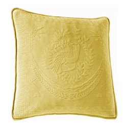 Historic Charleston Collection - King Charles Matelasse Sunshine 20-Inch Square Decorative Pillow-Only - - Steeped in Historic Charleston?s rich, classic style and decorative arts culture, the King Charles 100% cotton matelass� bedding collection offers a unique blend of European, Caribbean, and Asian influences.   - King Charles matelass� bedding offers a luxuriously soft bedspread, coverlet, bed skirt, shams and decorative accent pillows featuring classic 19th century motifs representing the sun, a topiary, a pheasant, and a pineapple.   - The superior design of the King Charles matelass� bedding ensemble can be traced back to England circa 1820, incorporating key influences from that time period including the fine arts and superior craftsmanship.   - Each piece is crafted individually on special weaving looms to create the luxurious design that defines this lovely matelass� bedding collection.   - Highs and lows created during the jacquard weaving process allow the intricate designs and motifs to come to life.   - Designs from the archives of Historic Charleston?s heritage, were interpreted to create the lovely King Charles bedding set.   - Rolling arches, half-moons, double diamonds and scrolling vine details wrap around the classic topiary, pheasant, sun and pineapple motifs.   - Coverlet and bedspread drape beautifully over the bed to reveal rounded corners.   - Pair the bedspread or coverlet with bed skirt to create a complete look.   - Add coordinating, decorative shams and pillows to create the ultimate bedroom oasis.   - The heavy-weight, stonewashed matelass� of King Charles bedding ensures life-long durability and style for generations to come.   - Crafted in Portugal.   - Stone-washed.   - 100% cotton matelass�.   - The Historic Charleston Foundation was established in 1947 and is a nonprofit organization whose mission is to preserve and protect the historical, architectural and material culture that make up Charleston?s rich and irreplaceable heritage.