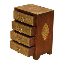 Sierra Living Concepts - Wood & Brass Traditional 4 Drawer Keepsake Vanity Hope Jewelry Box - Store your jewelry in a box that is as beautiful as the treasures within it.