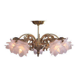 Crystorama - Crystorama Cecile Ceiling Mount X-L-FS-BO-564 - The combination of an ornate cast brass frame and soft frosted tulip glass make this hanging chandelier from the Cecile Collection really stand out.