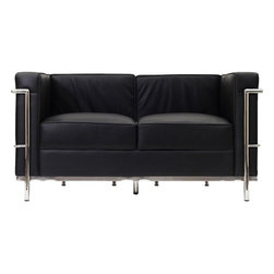 Modway - LC2 Leather Loveseat, Black - Urban life has always a quandary for designers. While the torrent of external stimuli surrounds, the designer is vested with the task of introducing calm to the scene. From out of the surging wave of progress, the most talented can fashion a force field of tranquility.