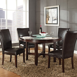 Steve Silver Furniture - Steve Silver Hartford 5 Piece Round Dining Room Set w/ Brown Chairs in Dark Oak - The Hartford round dining table is the essence of comfortable contemporary style  designed to bring out the best in dining spaces of all sizes. Made of hardwood solids and oak veneers with a dark oak wood finish  the 52 round dining table has a unique double top design with fancy face oak veneer and seating for up to four.
