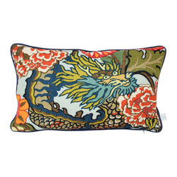 The Pillow Studio - Schumacher Chiang Mai Dragon Lumbar Pillow Cover w/ Navy Blue Piping/ Red - What is not to love about this pillow?