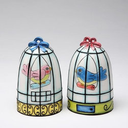 ATD - 3 1/8 Inch Pink and Blue Bird in Cage Design Salt and Pepper Shaker - This gorgeous 3 1/8 Inch Pink and Blue Bird in Cage Design Salt and Pepper Shaker has the finest details and highest quality you will find anywhere! 3 1/8 Inch Pink and Blue Bird in Cage Design Salt and Pepper Shaker is truly remarkable.