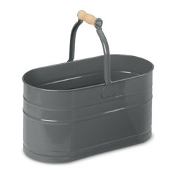 Oval Cleaning Pail With Wooden Handle - Haul your cleaning supplies around the house in this fun little pail, and maybe, just maybe, you'll look forward to scrubbing the stairs. (Maybe.)
