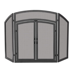 Uniflame - Uniflame S-1178 3 Fold Black Wrought Iron Arch Top w/ Doors - 3 Fold Black Wrought Iron Arch Top w/ Doors belongs to Fireplace Accessories Collection by Uniflame