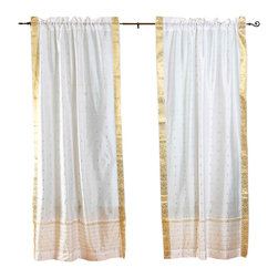 Indian Selections - Pair of White Rod Pocket Sheer Sari Curtains, 43 X 63 In. - Size of each curtain: 43 Inches wide X 63 Inches drop.