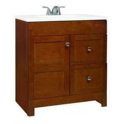 RSI Home Products - RSI Home Products Artisan Vanity with Cultured Marble Vanity Top (PPARTCHT30DY) - RSI Home Products PPARTCHT30DY Artisan 30 in. Vanity with Cultured Marble Vanity Top, Chestnut