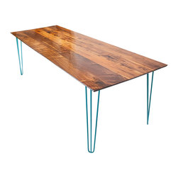 Moderncre8ve - Sputnik Dining Table with Teal Legs - Midcentury Inspired Solid Walnut Table with Hairpin legs.