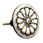 Charleston Knob Company - SET OF 2 Fancy Knobs - Jewel Cloisonne Pearl Petals - Puttin' on the Glitz is fun