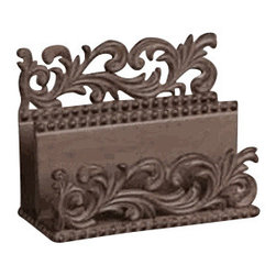 Gracious Goods GG - Scroll Style Elegant Metal Letter Sorter - A cup of coffee or tea, and a quiet moment at a well appointed desk provides a moment of order and tranquility at the start of a busy day. Have your envelopes neatly sorted, in our high quality GG Collection scroll style metal letter holder. accented with a flourish of scrolls and beads, our burnished bronze metal letter holder, will keep your desk neat and organized, and at the same time, have that touch of sophistication too! Note: all finishes in this collection are handcrafted, resulting in variations of color, that reflect in the unique character of each piece.