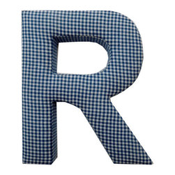 Fabric Wall Letters - Blue Gingham - All Uppercase Letters Available, Letter R - Choose our Blue Gingham fabric letters to create your own unique wall art or personalise your little child's bedroom or baby nursery.