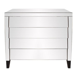 Mirrored 4 Drawer Dresser - This mirrored dresser features 4 drawers. The drawers slightly overlap creating a shingled effect. Black wood legs complete the look. Each drawer is 6 x 34.