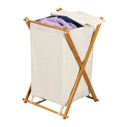 Household Essentials® - Bamboo X-Frame Laundry Hamper - X marks the spot with our wooden X-frame hamper. Its sturdy fabric bag and attached blanket lid keep laundry off the floor and out of sight. It is ideal for the bedroom or dorm.