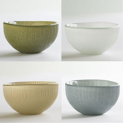 Viva Terra - Sol  Bowls - Assorted Serene (set of 4) - As shimmering and vibrant as sunshine glistening off waves, this 100% recycled glass dinnerware instantly brightens any meal.  All are handmade with glossy interior surfaces and ribbed undersides. Dress them up or down-they are versatility and value in tabletop form. Sturdy, dishwasher safe, and delightfully cheerful. Assorted bowl sets come with one each of olive, steel, pearl and taupe. 16-piece set includes four each of salad, dinner and charger plates plus steel bowls.