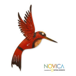 Handcrafted Iron 'Little Ruby Hummingbird' Wall Sculpture (Mexico) -