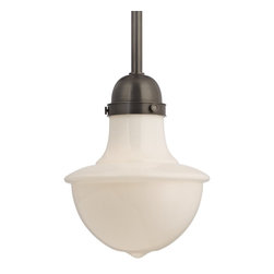 Hudson Valley Lighting - Hudson Valley Lighting Branford Transitional Pendant Light X-BO-6149 - The bright glow of milk glass ranks with the fresh-waxed gleam of plank maple flooring and a scrubbed slate-board's chalky haze in its ability to conjure schoolhouse ambiance. Branford's mouth-blown triplex glass diffuses glare while delivering bright illumination, which accounts for the widespread placement of this American classic above task-focused eyes.
