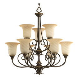 Progress Lighting - Progress Lighting P4288-77 9-Light Chandelier With Frosted Caramel Swirl Glass T - Nine-light, 2-tier chandelier with trumpet-shaped swirled glass shades and a frosted caramel finish.