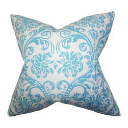 """The Pillow Collection - Saskia Damask Pillow Sky Blue 18"""" x 18"""" - Plush and comfy, this accent pillow makes a great decor piece for your sofa, bed or seat. This 18"""" pillow is decorated with a damask pattern in bright sky blue hue against a white background. Prop up this square pillow anywhere inside your home where it needs dimension and comfort. Made from 100% soft cotton fabric. Hidden zipper closure for easy cover removal.  Knife edge finish on all four sides.  Reversible pillow with the same fabric on the back side.  Spot cleaning suggested."""