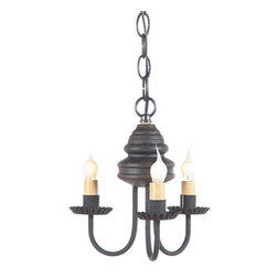 Bellview Wooden Chandelier in Americana Colors, Black Over Red - The warm and welcoming glow created by our Bellview Chandelier will add a country elegance to your home. The Bellview is destined to become a homespun treasure.
