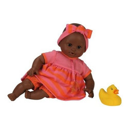 Corolle Mon Premier Tidoo Mon Premier Bebe Bath Girl Graceful 12 in. Doll - An adorable bath time playmate, the Corolle Mon Premier Tidoo Mon Premier Bebe Bath Girl Graceful 12 in. Doll is also posable, and floats! This sweet African American dolly is designed for kids 18 months and older. She has a sweet face and big brown eyes that actually close when she goes to sleep. Her kissably soft vinyl skin is gently scented with vanilla. Her soft body is filled with quick-dry polystyrene beads that let her float and make her easy to pose. Your little one's new favorite baby is dressed up super cute in a pink and orange swimming costume with cap, pacifier, and rubber ducky.About CorolleCorolle is a premier doll brand designed in the storybook region of France's Loire Valley. Since 1979, Corolle has been creating highly detailed dolls designed to be cherished by children everywhere. Every Corolle doll will inspire magical childhood memories that will last for a lifetime. Corolle dolls look and feel as real as possible. They're created of soft, supple vinyl, have natural-looking hair, and wear on-trend fashions. Corolle dolls are designed durable enough to withstand years of hugs and love. Perfect heirloom treasures! Doll play encourages children to explore different roles from caring for and sharing hopes and dreams to finding an understanding playmate and friend for life. Corolle designs dolls for children of all ages.There is a range of Corolle dolls designed for specific ages. Babi Corolle is a soft-body doll perfect for newborn babies and older. It's machine-washable, feather-light, and made to be loved. Mon Premier Corolle is designed for babies 18 months and older. This line includes a range of baby dolls, clothing, and accessories. The dolls are lightweight and soft. The clothing has Velcro closures so it's easy to put on and take off. Mon Classique Corolle is a classic baby doll designed for toddlers to love and nurture. This line has a complete assortment of larger baby dolls, clothing, and nursery accessories. Some even have hair that can be brushed and styled. Others coo, giggle, drink, and go potty. Mademoiselle Corolle is a toddler doll for toddlers. These dolls have expressive faces, silky long hair, and are dressed in the latest styles. This doll will be your little one's best friend. She's perfect for sharing secrets and working out new hairstyles and fashion. Les Cheries Corolle is designed for little ones four years and older. She has long, lush, rooted hair and an amazing wardrobe of stylish outfits. This doll provides endless hours of fashion and hair play.