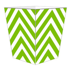 """Marye Kelley - Marye Kelley Lime Chevron Decoupage Wastebasket with Optional Tissue Box, 12"""" Fl - This is a handmade decoupage wastebasket with optional tissue box.  All items are handmade in the USA.  There are three different styles available.  There is the 12"""" Fluted Tin Design, the 11"""" Square Design with a flat top or the 11"""" Square design with a scalloped top.  Coordinating tissue boxes may also be made. Please note all items are custom made and may not be returned."""