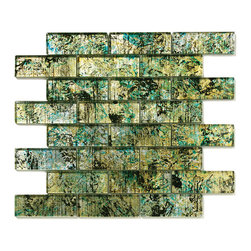 """Glass Tile Oasis - Octotillo Uniform Brick Green Folia Brick Glossy Glass - Each sheet includes 8 rows of 3 tiles         Sheet size:  11.75"""" x 12""""        Tile Size:  4"""" x 1.5""""        Style:  Interlocking Tiles        Tile thickness:  1/4""""        Grout joints:  1/8""""        Finish:  Polished Colored Glass        Mounting:  Mesh Backed         Important Information:  During manufacturing  color is bonded to the back of the glass tiles. As a result  color may vary. Tiles should not be installed in areas exposed to direct sunlight as color will change.              Sold by the sheet                      -   Folia patterned-glass mosaics offer a unique appearance unachievable with conventional tiles. The vibrancy and depth of color combined with the reflective quality of glass results in a unique and dramatic effect that is borderline out-of-this-world! Glass tiles are suitable for both internal and external applications impervious to frost  sun light and water. They are easy to clean  maintain and never discolor. They will continue to provide a dazzling appearance for many years to come."""