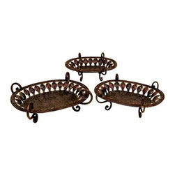 "Benzara - Set of 3 Donboi Metal Zali Work Serving Tray Set - Set of 3 Donboi Metal Zali Work Serving Tray Set. Classic Steel metal zali work trays with hand work. Dimension Large Tray 20"" W x 7"" H x 15"" L, medium tray 18"" W x 6"" H x 13"" L and small tray 16"" W x 6"" H x 11"" L."