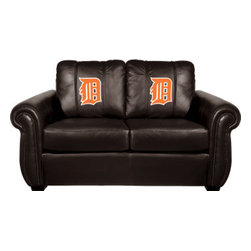 Dreamseat Inc. - Detroit Tigers MLB Orange Logo Chesapeake Black Leather Loveseat - Check out this Awesome Loveseat. It's the ultimate in traditional styled home leather furniture, and it's one of the coolest things we've ever seen. This is unbelievably comfortable - once you're in it, you won't want to get up. Features a zip-in-zip-out logo panel embroidered with 70,000 stitches. Converts from a solid color to custom-logo furniture in seconds - perfect for a shared or multi-purpose room. Root for several teams? Simply swap the panels out when the seasons change. This is a true statement piece that is perfect for your Man Cave, Game Room, basement or garage.