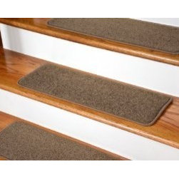 """Dean Flooring Company - Dean Serged DIY Carpet Stair Treads (13) - Rich Earth Plush 27"""" X 9"""" - Dean Serged DIY Carpet Stair Treads (13) - Rich Earth Plush 27"""" X 9"""" with Double-Sided Tape Included : Quality, Stylish Carpet Stair Treads by Dean Flooring Company. Extend the life of your high traffic hardwood stairs. Reduce slips/increase traction (treads must be properly secured to your stairs). Cut down on track-in dirt. Great for pets and pet owners. 100% premium nylon. Set includes 13 carpet stair treads PLUS one roll of double-sided carpet tape for easy, do-it-yourself installation. Each tread is serged (edges are finished) with color matching yarn (no frayed edges). Beautifully rounded corners. You may remove your treads for cleaning and re-attach them when you are done. This product is designed, manufactured, and sold exclusively by Dean Flooring Company."""