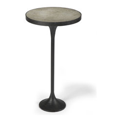 Kathy Kuo Home - Kagan Industrial Loft Round Cast Iron Drink End Table - This drinks table doesn't care where you live: loft, penthouse, farmhouse or apartment. Industrial cast iron has moved up in class to a chic, sophisticated table you can use to display sculpture or plants. It's as versatile as you.