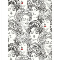 York - Bv2419 Pucker Up Buttercup Novelty Wallpaper - BV2419 Pucker Up Buttercup from Risky Business II is a black and white Gibson Girl pattern.  One of the ladies is wearing red lipstick for a splash of color.