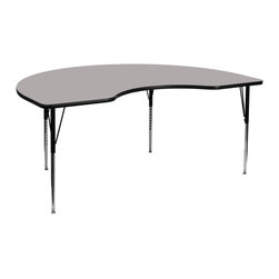 Flash Furniture - Flash Furniture Accent Table X-GG-A-H-YG-YNDIK-6984A-UX - Flash Furniture's XU-A4896-KIDNY-GY-H-A-GG warp resistant high pressure laminate kidney activity table features a 1.25'' top and a high pressure laminate work surface. This Kidney Shaped High Pressure Laminate activity table provides an extremely durable (no mar, no burn, no stain) work surface that is versatile enough for everything from computers to projects or group lessons. Sturdy steel legs adjust from 21.25'' - 30.25'' high and have a brilliant chrome finish. The 1.25'' thick particle board top also incorporates a protective underside backing sheet to prevent moisture absorption and warping. T-mold edge banding provides a durable and attractive edging enhancement that is certain to withstand the rigors of any classroom environment. Glides prevent wobbling and will keep your work surface level. This model is featured in a beautiful Grey finish that will enhance the beauty of any school setting. [XU-A4896-KIDNY-GY-H-A-GG]
