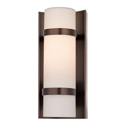 Design Classics Lighting - Bronze Indoor / Outdoor Wall Light  - 117-220 - Modern wall sconce in bronze finish with white cylinder glass shade and two bronze metal band accents. Takes (1) 60-watt incandescent T10 bulb(s). Bulb(s) sold separately. UL listed. Damp location rated.