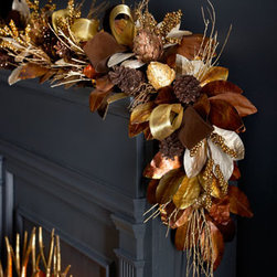 "Horchow - 6' Chocolate, Copper, & Gold Garland - Exclusively ours. This attractive, handmade garland in hues of chocolate, copper, and gold adds warmth to holiday festivities. Made of leaves, pine cones, berries, and twigs. Prelit with 100 twinkling lights. 12""W x 8.5""D x 72""L. Imported."