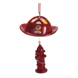 Midwest CBK - Firefighter Helmet & Fire Hydrant Christmas Tree Ornament - Summer Novelty Gift - Firefighter Helmet with Red Hydrant Christmas Ornament