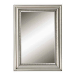 Uttermost - Stuart Silver Beaded Mirror - This decorative mirror features a wood frame finished in silver leaf with a gray glaze.