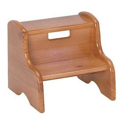 Tenderfoot Kids Wooden Step Stool - Tenderfoot Kids Wooden Step Stool Great booster step stool for your little one. This two step up stool will help them reach what little arms just can't quite get. Solid wood construction. All kids love to feel bigger. Help to encourage a little independence with mom or dad's help. A cut out carry handle allows you to move where you want with ease. Offered in different finish choices for your decor preference due to availability. Little Colorado is a Green CompanyAll finishes are water-based low-VOC made by Sherwin Williams and other American manufacturers. Wood raw materials come from environmentally responsible suppliers. MDF used is manufactured by Plum Creek and is certified green CARB-compliant and low-formaldehyde. All packing insulation is 100% post-consumer recycled. All shipping cartons are either 100% post-consumer recycled or are made of recycled cardboard. About Little ColoradoThis item is made by Little Colorado. Begun in 1987 Little Colorado Inc creates solid wood hand-crafted children's furniture. It's a family-owned business that takes pride in building products that are classic stylish and an excellent value. All Little Colorado products are proudly made in the U.S.A. with lead-free paints and materials. With a look that's very expensive but a price that is not Little Colorado products bring quality and affordability to your little one's room.