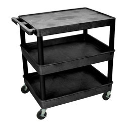 """Luxor - Luxor Tub Cart - TC211-B - These Luxor TC series utility carts are made of high density polyethylene structural foam molded plastic shelves and legs that won't stain, scratch, dent or rust. Features a retaining lip around the back and sides of flat shelves. Includes four heavy duty 4"""" casters, two with brake. Has a push handle molded into the top shelf."""