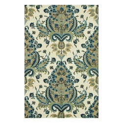 """Loloi Rugs - Loloi Rugs Taylor Collection - Blue / Gold, 5'-0"""" x 7'-6"""" - The colors are vivid and the designs are beautiful, but what's really special about the Taylor Collection is its knobby, textural feel underfoot. That's because each Taylor rug is hand-hooked by skilled artisans in India to form a thick 100% wool pile. And with transitional designs ranging from trendy chevron patterns to fresh damasks, it's easy to find just the right style for your home."""