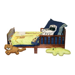 "Jazzie Jungle Boy - Toddler Set (4pc) - Come on in and explore a world of ""adventure"" with ""One Grace Place"" Jazzie Jungle Boy collection.  This 4pc collection includes crib sheet, medium quilt, pillowcase or sham, and decorative pillow.  Crib sheet is in the collection's navy cotton fabric. Coordinating quilt is most ""adventurous"" using all the animals in this jungle appliqu�d on the front of the quilt with green soft minky behind.  Quilt is framed using all the cotton print main animal prints.  Back is green minky to match front. Entire quilt is trimmed in navy cotton fabric. Set come with pillowcase (shown) OR pillow sham.  PIllowcase is navy with cheetah trim.  Pillow Sham is zebra print with green minky trim.  Set includes one of the decorative pillows shown: alligator, cheetah or zebra.  Requests will be honored if supplies allow."