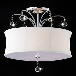 None - Indoor 5-light Chrome/ Crystal Flush Mount Chandelier - Add a dramatic touch to your dining area by hanging this flush-mount crystal chandelier. The chrome-finished fixture has glittering clear crystal accents that reflect the light. A crisp white shade adds a finishing touch to this modern piece.