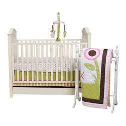 Pam Grace Creations - Sophia's Garden 10-Piece Crib Bedding Set by Pam Grace Creations - The Sophia's Garden Crib Bedding Set is a precious Floral Themed Crib Set with embroidered flowers arranged on a pallet of green, pink and chocolate brown. This set is perfect for a baby girl's room.