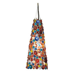 "Everybody's Ayurveda - Hanging Cone Lamp in Multi Color Glass - Multi-color Glass Hanging Cone Lamp. Iron and Glass. Made in India. 6"" Wide x 6"" Deep x 13 3/4"" Tall. Hard Wire. Multi-color glass beads with shiny silver accents."