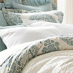 Lucianna Medallion Duvet Cover, Twin, Blue - Our elegant Lucianna collection features a traditional damask motif originally produced for Venetian royalty in the 15th century. Woven from pure cotton. Duvet cover and sham reverse to self. Duvet cover has a hidden button closure; sham has an envelope closure. Duvet cover, sham and insert sold separately. Machine wash. Imported.