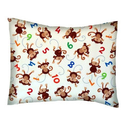 SheetWorld - SheetWorld Crib / Toddler Percale Baby Pillow Case - Monkeys & Numbers - Baby or Toddler pillow case. Made of an all cotton percale fabric. Opening is in the back center and is envelope style for a secure closure.